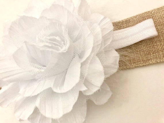 Baby White Flower Headband, White Baby Headband, Chiffon Flower Marabou Headband, Baptism Headband,Flower Girl Headband, Ivory, Mint, Rose C