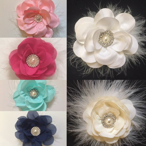 Wedding Flower Clips, Flower Girl Clips, White Flower Clip, Ivory, Pink, Navy, Coral, Hot Pink, Mint Wedding Flower clips, Flower Girl Clips