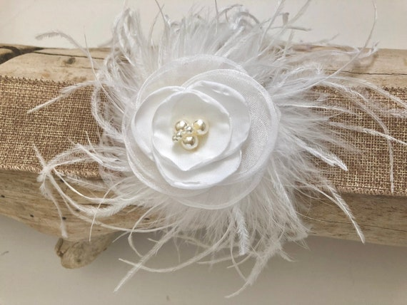 White Hair Clips, Ivory, Pink, Light Coral, Mint, Teal, White Pearl Clip, Feather Hair Clip, Small Flower Hair Clip,
