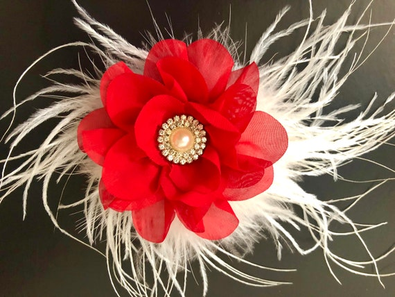 Red White  Hair Clip, Red Floral Hair Clip,Navy White Hair Clip,White Feather Hair Clip Flower Girl Wedding Hair clip