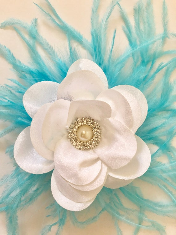 White and Turquoise Flower Hair Clip, Bridal Flower Clip, Floral Clip, Flower Girl Clip, Feather Hair Clip, Wedding Clip, Dance Costume