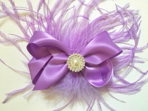 Lavender Lilac Hair Bow, Feather Hair Bow, Purple Hair Bow, Wedding Hair Bow, Feather Hair Bow, Lilac Hair Clip, Purple Hair clip