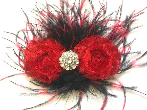 Red Black Hair Clip, Dance Costume Hair piece, Black Red Feather Hair Clip, Red and Black Feather Hair Clip,Portrait photo, Custom Hair clip