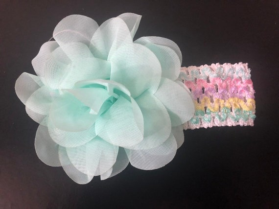 Mint Floral Headband, Pastel Rainbow Floral Headband, Spring Floral Headband, Easter Flower Headband, Custom Headband Newborn Toddler Hair