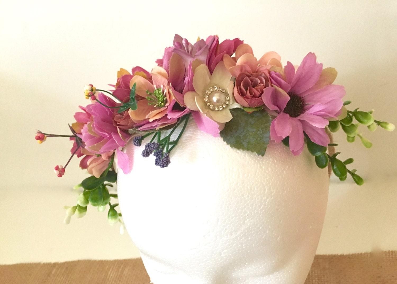 Flower Crown Flower Girl Hair Crown Wreath Pink Bridal Hair
