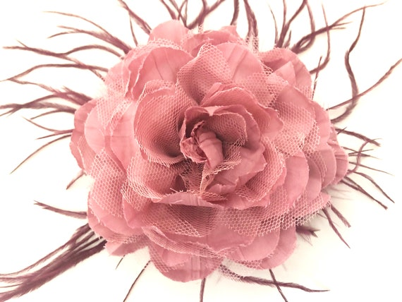 Dusty Rose Flower Hair Clip, Wedding Headpiece, Bridal Hairpiece, Wedding Fascinator, Derby Fascinator, All Colors, Floral Feather Clips