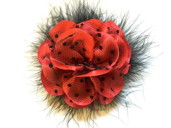 Red Black Hair Clip, Dance Costume Hair piece, Red Black Lace Hair Clip, Valentine Hair Clip,Dance Costume, Red Satin Black Mesh Dot Clip