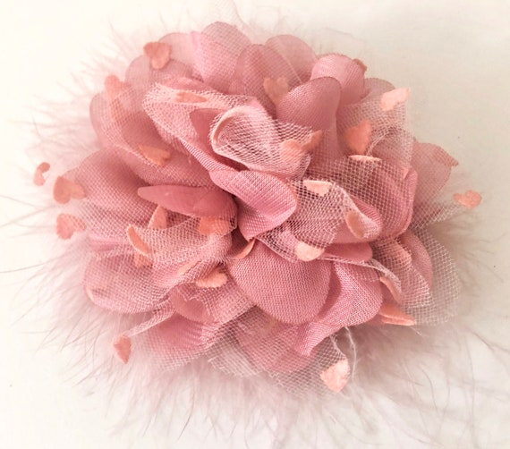 Dusty Rose Hair Clips, Mauve Pink Flower Clip, Dusty Rose Pink Feather Fascinator,Kentucky Derby Fascinator Hat, Bridal Headpiece, Wedding