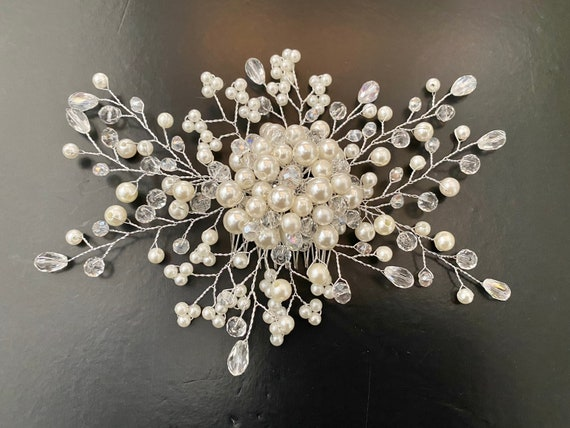 Pearl Hair Comb, Bridal Hair Comb, Wedding Hair Comb,Crystal Pearl Hair Comb,Wedding headpiece, Pearl Hair Comb, Silver Crystal Wedding Comb