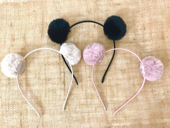 Rabbit Ear Headband, Pink Pom Pom Headband, Double Pom Pom Headband for Girl, Black Headband, Red Headband, Cream Pom Pom Headband,