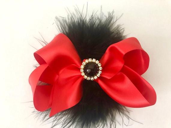 Christmas Hair Bows, Red and Black Bow, Black Hair Bow, Hunter Green Hair Bow, Gold Rhinestone Hair Bow, Flower Girl Hair Accessories