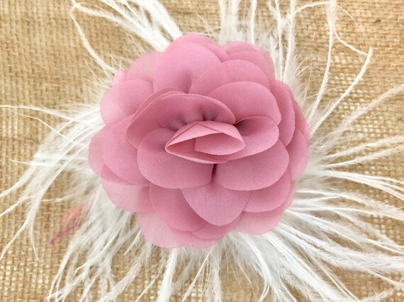 Floral Clip, Dusty Pink Flower Hair Clip, Pink Hair Clip, Flower Girl Hair Accessories, Mauve Hair Clip, Easter Hair Clip,Wedding Fasci