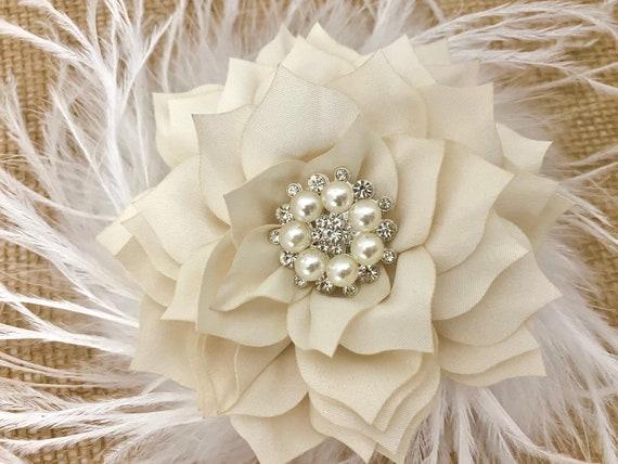 Ivory Flower Hair Clip, Beige Floral Hair Clip, Wedding Fascinator, Bridal Hair Clip Feather Flower Girl Hair Accessories, all colors