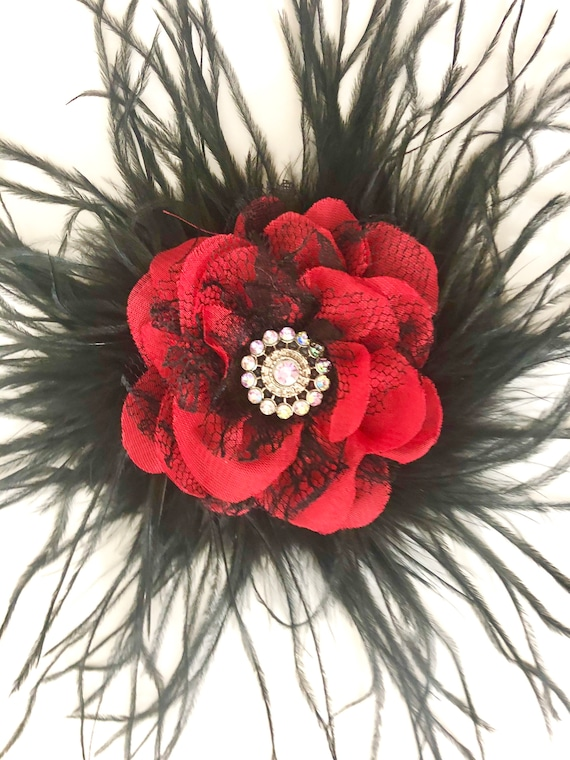 Red And Black Lace Hair Clip, Red and Black Feather Hair Clip, Dance Costume Hairpiece,  Red and Black Feather Hair Clip,Customize Clips