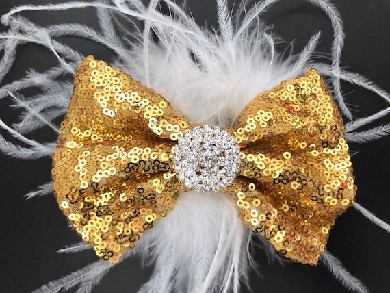 Gold Hair Bow, Gold White Hair Clip, Rose Gold Hair Bow, Champagne Gold Hair Bow, Flower Girl Wedding Hair Bow, Feather Bow for girls,Dance