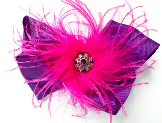 Dance Costume Hair piece, Pink, Purple , Red, Hot Pink, Black, Turquoise, Purple Hair Bow,  Feather Hair Clip, 8in Hair Bow, jo jo bow,