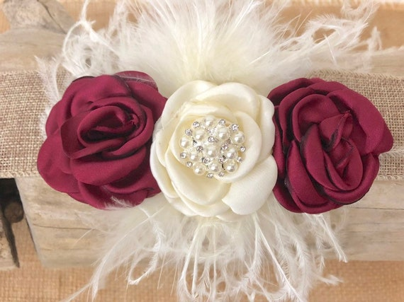 Flower Girl Accessories, Rustic Hair Clip,  Ivory Burgundy Wine Hair Clip, Floral Hair clip, Flower Girl Crown, Custom Hair Accessories