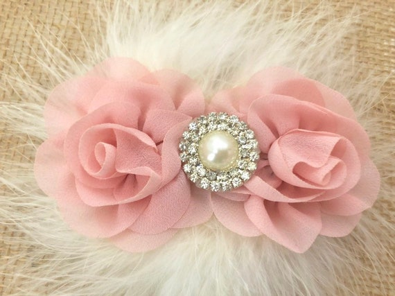 Pale Pink,Blush Pink Floral Hair Clip, Rose Gold Hair clip, Flower Girl Hair Clip, White Floral clip, Flower Girl Hair Clip Accessories