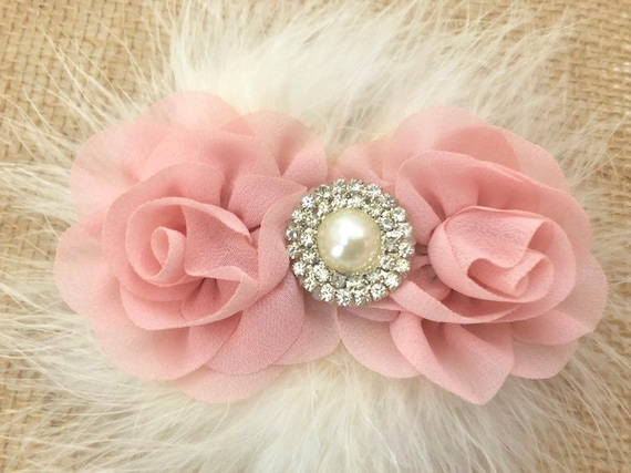 Pale Pink Flower Hair Clip, Blush Hair clip, Ivory clip, White clip, Dumb Pink clip, Dusty Rose Flower Girl Hair Clip, Wedding Flower clip,
