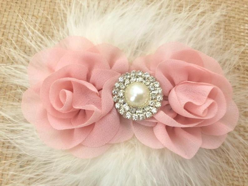 Kleidung, Schuhe & Accessoires Baby Rose Flower Marabou Feather Crochet Headband Hair Clip!