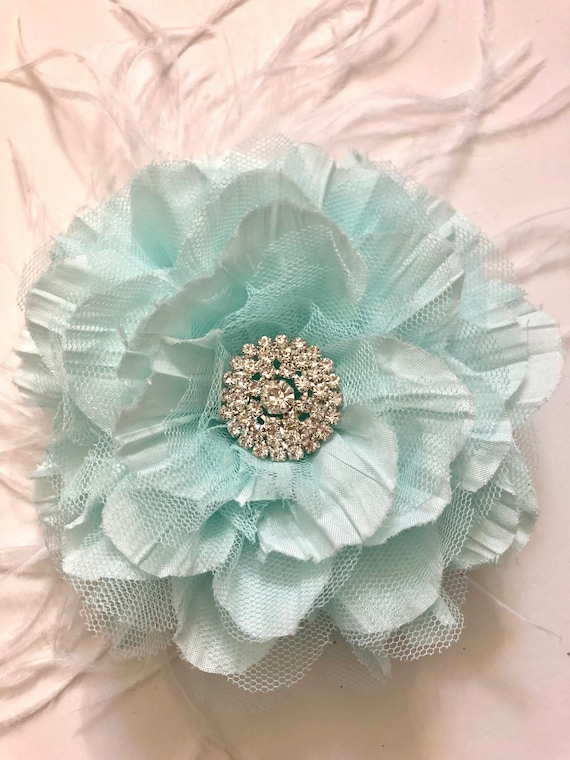 Mint Floral Fascinator Clip, Bridal Flower Clip,  Flower Girl Clip, Easter Flower Clip, All Colors, Pink, Cream, Turquoise Blue, Grey Flower