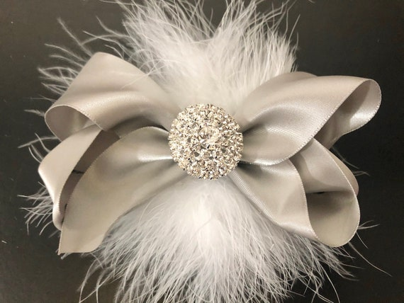 Silver Satin Hair Bow, Grey Hair Bow, Metallic Grey Hair Bow, Crystal Silver Hair Clip,Shades of Silver Grey Hair Bows, Wedding Silver Clips