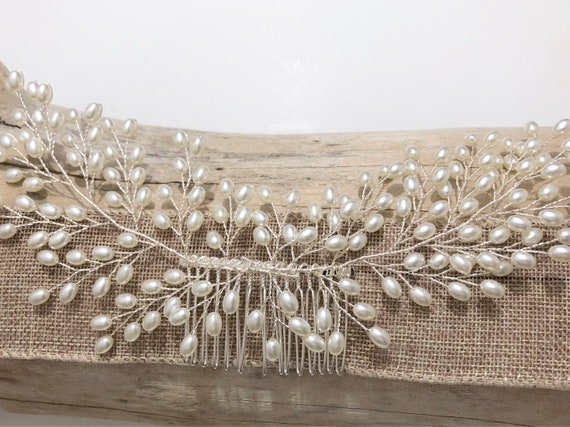 Pearl Hair Comb, Bridal Hair Comb, Freshwater Pearl Hair Comb, Rustic Wedding Crown, Silver Pearl Hair comb, Bridal Hair Accessories