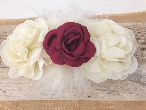 Burgundy and Ivory Flower Clip, Ivory Burgundy Clip,Wedding Flower Girl, Bridal hairpiece  Wedding Hair Accessories, Christmas Hair Clip