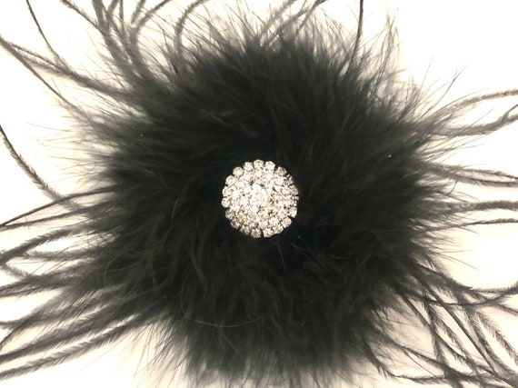 Floral Black Feather clip, Black Feather Hair Clip, Wedding Hair Jewelry, Bridal Hair Accessories, Dance Costume Hair Clip