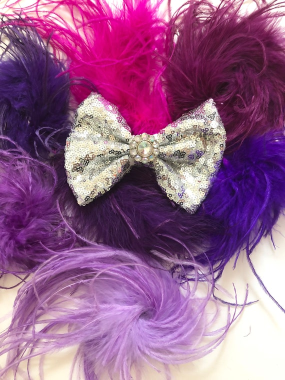 Dance Costume Competition Hair Piece, All Colors, Black,Hot Pink, Red, White, Turquoise, Purple, Neons, Custom Feather Hair Bow