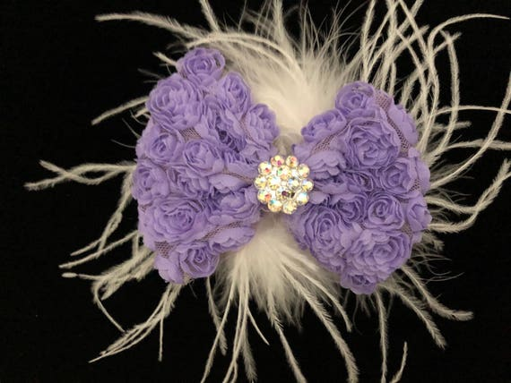 Baby Hair Bow, Lavender Rosette Toddler Hair Bow, Purple Rosette Bow, Hot Pink Hair Bow, Feather Bow, Dance Costume Hair clip, , Bridal H