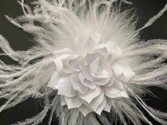 White Hair Clip, Ivory Flower Clip, Taupe Hair Clip, Blush Hair Clip, Wedding Hair Clip, Feather Flower Crystal Hair Clip, Wedding Headpiece