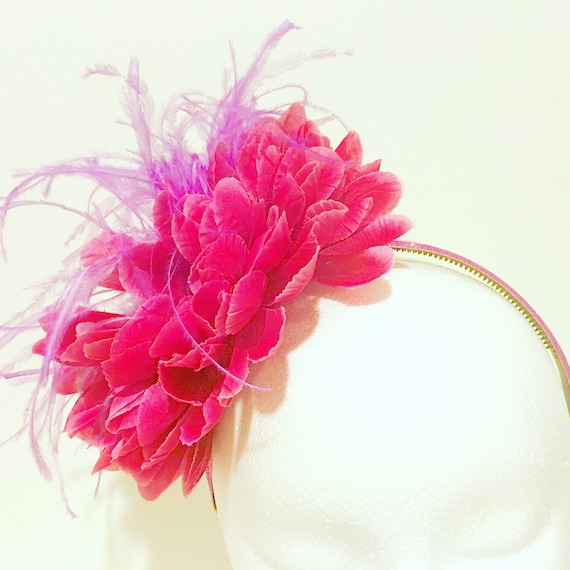 Kentucky Derby Flower Fascinator Big Floral Fascinator Headband,Custom Flower Feather Headpiece, All colors, Pink, Red, Dusty Pink, Yellow