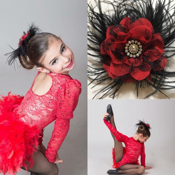 Red Black Hair Clip, Dance Costume Lace Feather Clip, Red Black Dance Hair pieces,Custom Dance Competition Hair pieces, Black Red Clips
