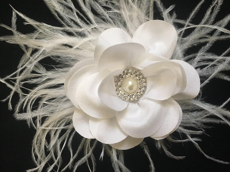 Bridal Hair Clip White Flower Clip Navy Clip Gray Flower Clip