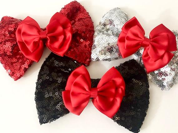 Christmas Hair Bows,Christmas Headbands,Red Black Hair Clip,Baby Hair Bows, Baby Headbands,Red Silver Bow,Black Red Hair Bow,Silver Red clip