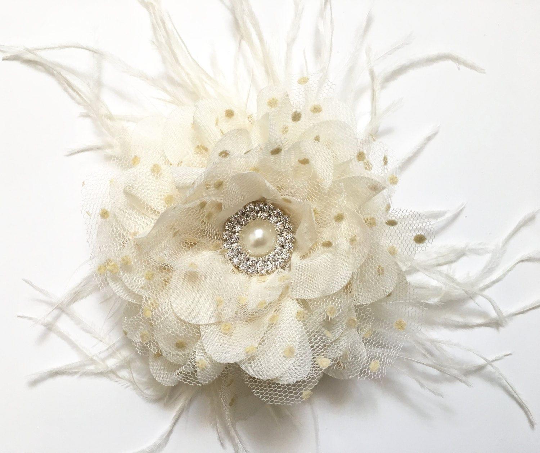 Ivory Flower Hair Clip Off White Nude Pearl Frathet Hair Flower