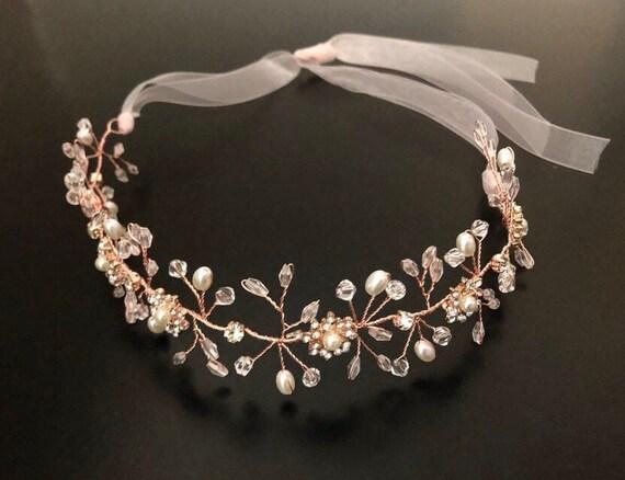 Rose Gold Crown Wreath, Flower Girl Crown Wreath, Gold Crown Wreath, Flower Girl Crystal Crown Wreath, Silver Wedding Crown Wreath, Blush