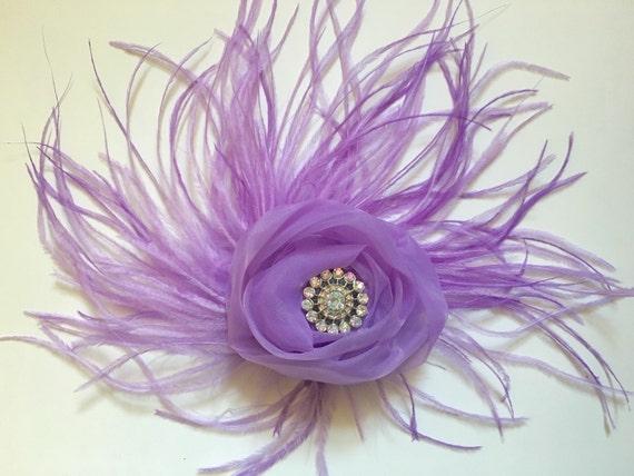 Lavender Lilac Hair Clip, Floral Fascinator, Bridal Flower Hair Clip, Flower Girl Clip, Feather Hair Piece, Dance Costume Feather Hair Clip