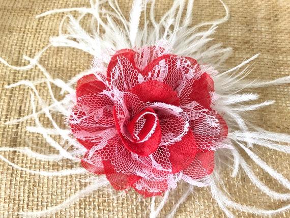 Valentine's Day Flower Clip, Gift for Girl, Red White Hair Clip, White Feather Flower Clip, Red White Hair Clip, Custom Girl Hair Bow,