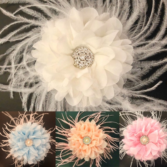 White Fascinator, Wedding Hair piece, Bridal  Feather Hair Clips, Blue, Pink, Coral Flower Fascinator Clips, Bridal Flower Hair Clip