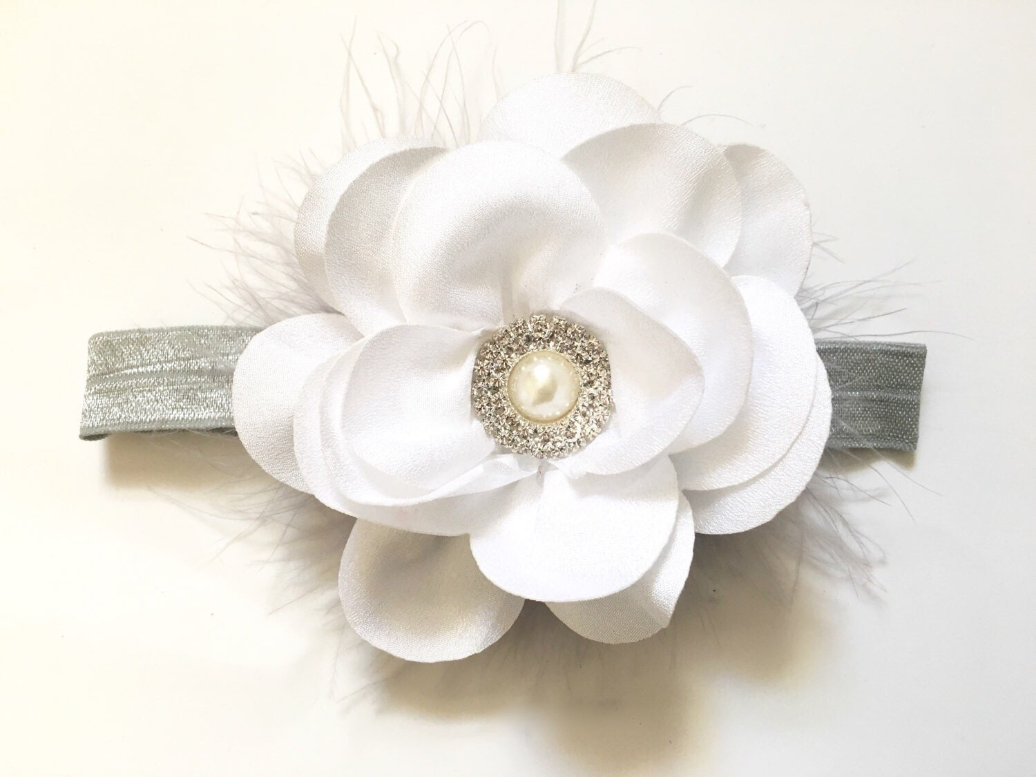 White Flower Baby Headbandchiffon Flower Headband All Colors Grey