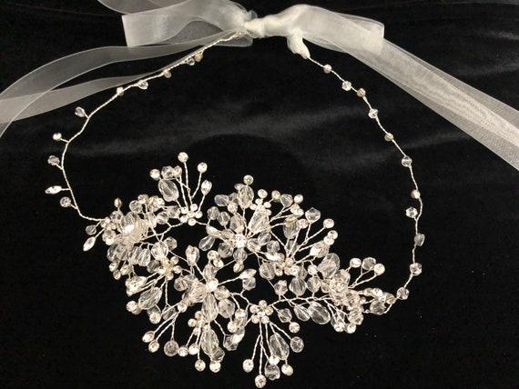 Crystal Crown Headband, Wedding Crystal Headpiece, Flower Crown, Bridal Headband, Wedding Crown, Flower Girl Crown, Birthday Halo Crown
