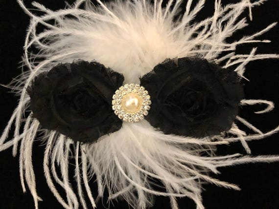Black and White Flower Hair Clip, Dance Hair Clip, Bridal Hair Clip, all colors, Pink and White, Hot Pink,Rose Pink, Feather Hair clip,