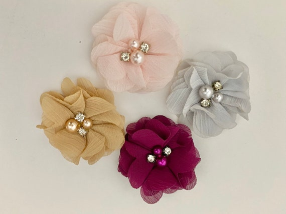 Baby Flower Clips, Baby Floral Gift Set, Baby Hair Clips,Beige, Pink, Silver, Purple, Ivory, Burgundy Hair Bow Holder too