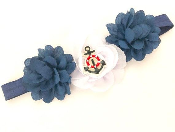 Nautical Baby Headband, Navy White Anchor Headband, Anchors Away Headband, Baby Girl Headband, Custom Floral Headband