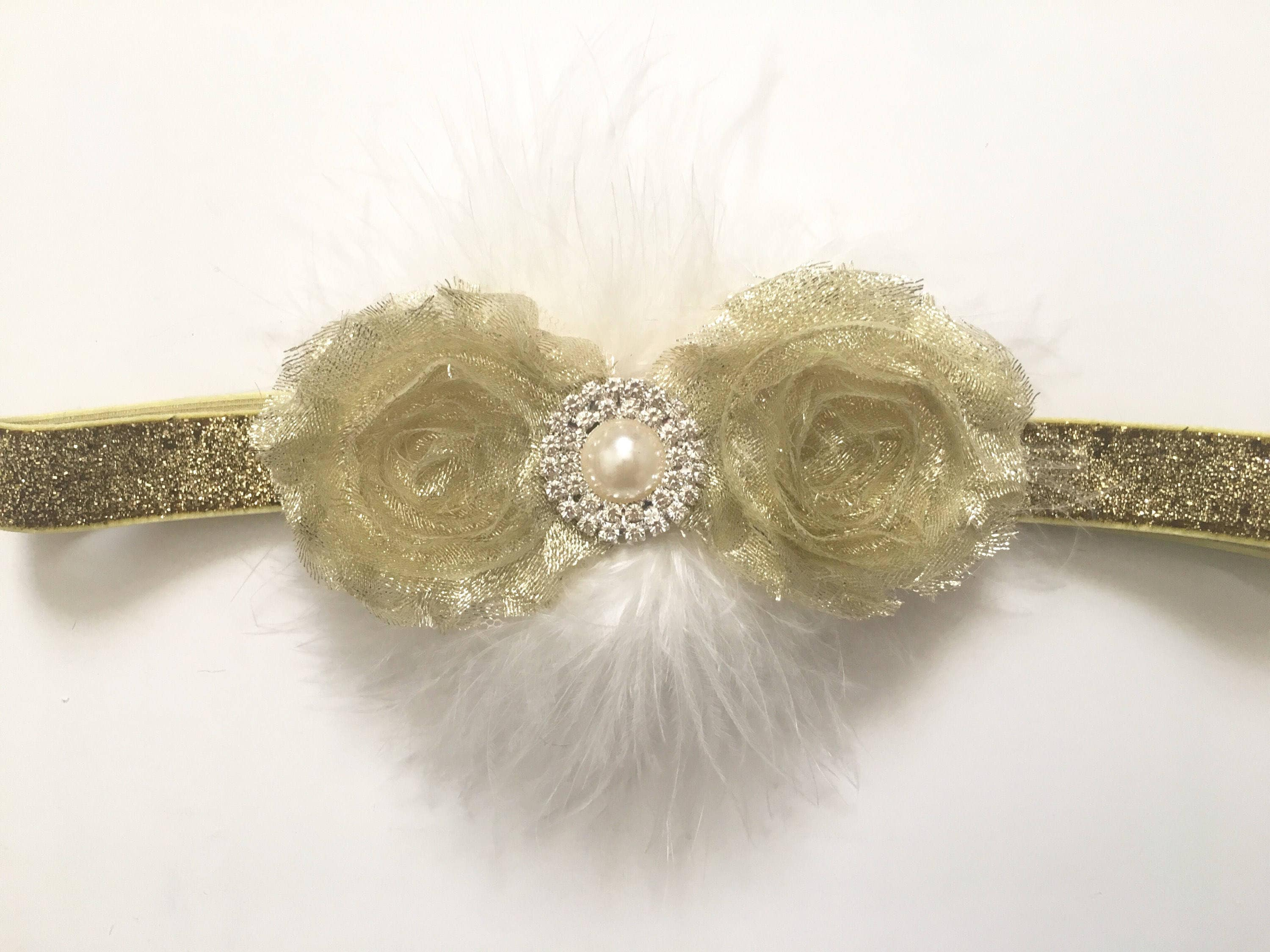 Gold Flower Headband Hair Clip Gold And White Hair Clip Gold And