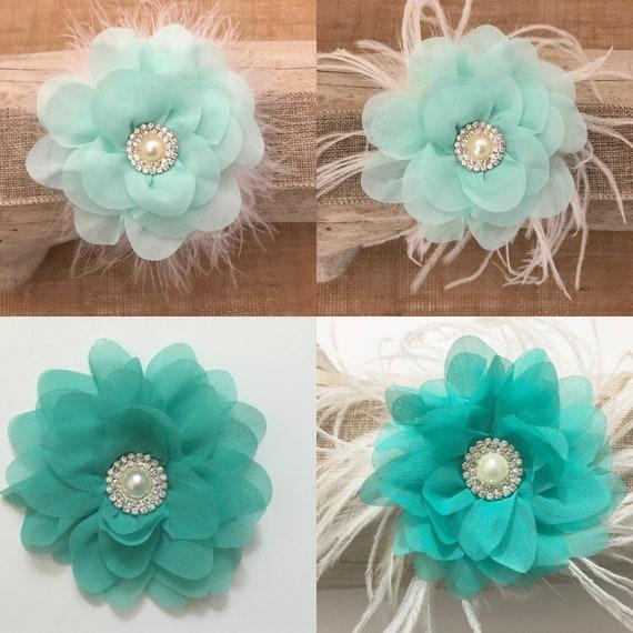 Wedding Hair Clips,Mint Hair Clip,Teal Hair Clip, Bridal Hair piece, Feather Hair Clip, Wedding Hair Clips, Navy,Silver,White, Ivory Flower