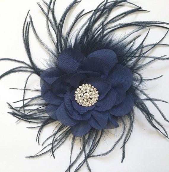 Navy Blue Hair Clip, Flower Blue Clip, Navy Floral Bridal Hair Clip, Portrait Photo, Flower Girl Clip, Wedding Hair Accessories