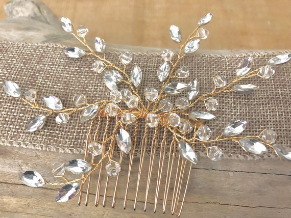 Gold Crystal Hair Comb, Bridal Comb, Pearl Crystal Gold Hair Comb, Wedding Hair Comb, Gold Crystal Hair Clip, Brides Maid Hair Jewelry, Gold